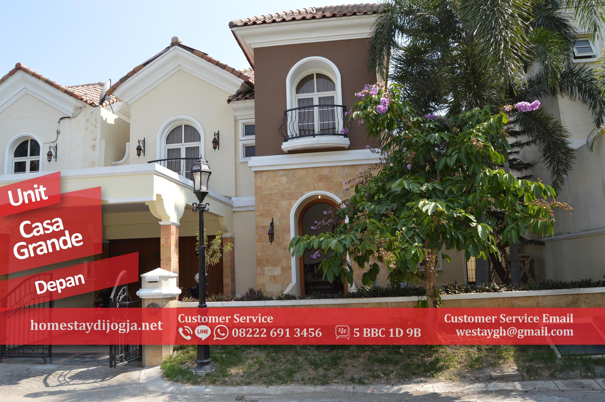 Guest House di jogja 4 Kamar Tidur AC Free WIFI ada Kolam Renang di Perumahan Elite Casa Grande