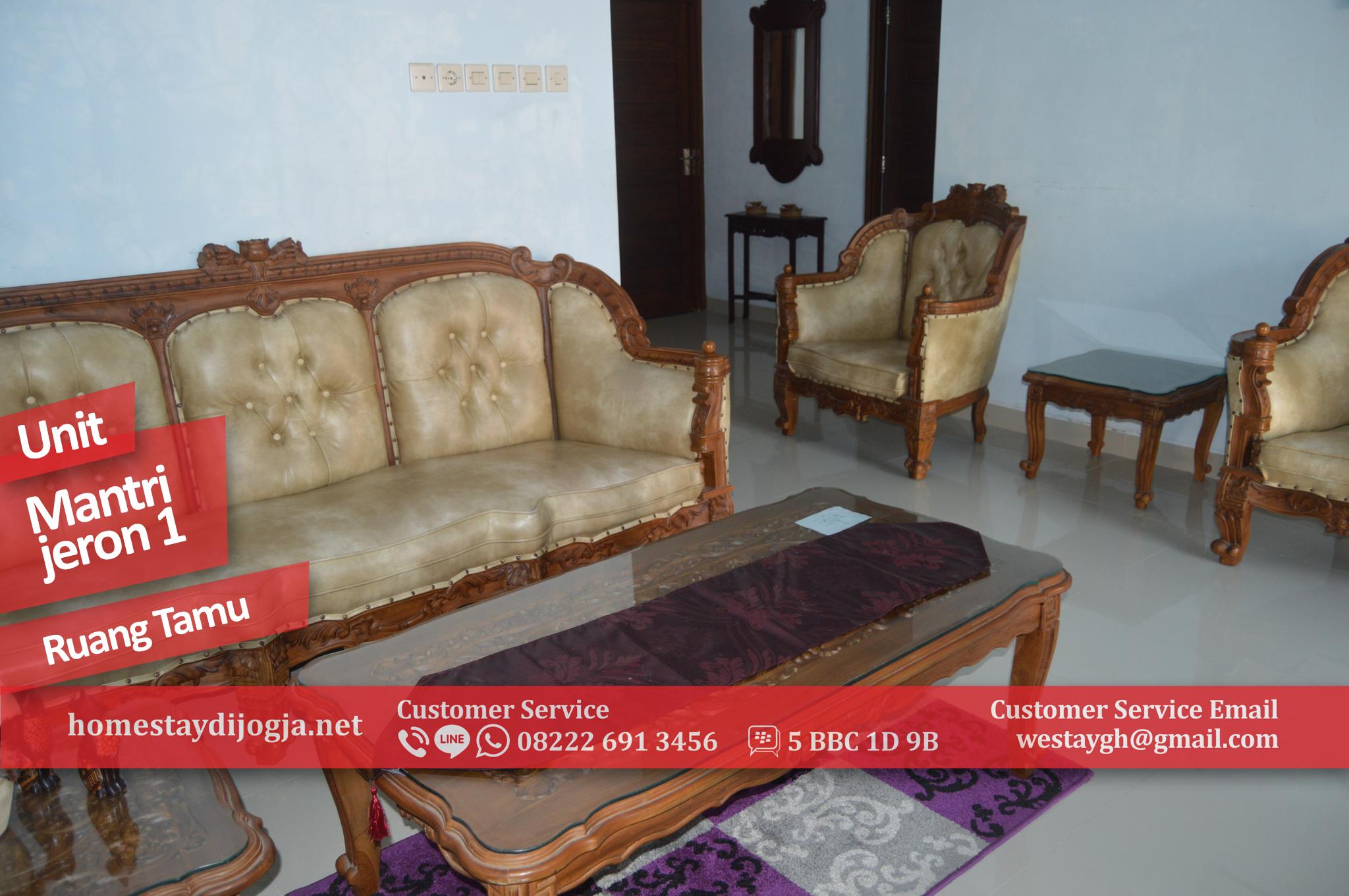 Guest House Jogja 3 kamar tidur + TV di Mantrijeron 5 menit ke alun alun kidul