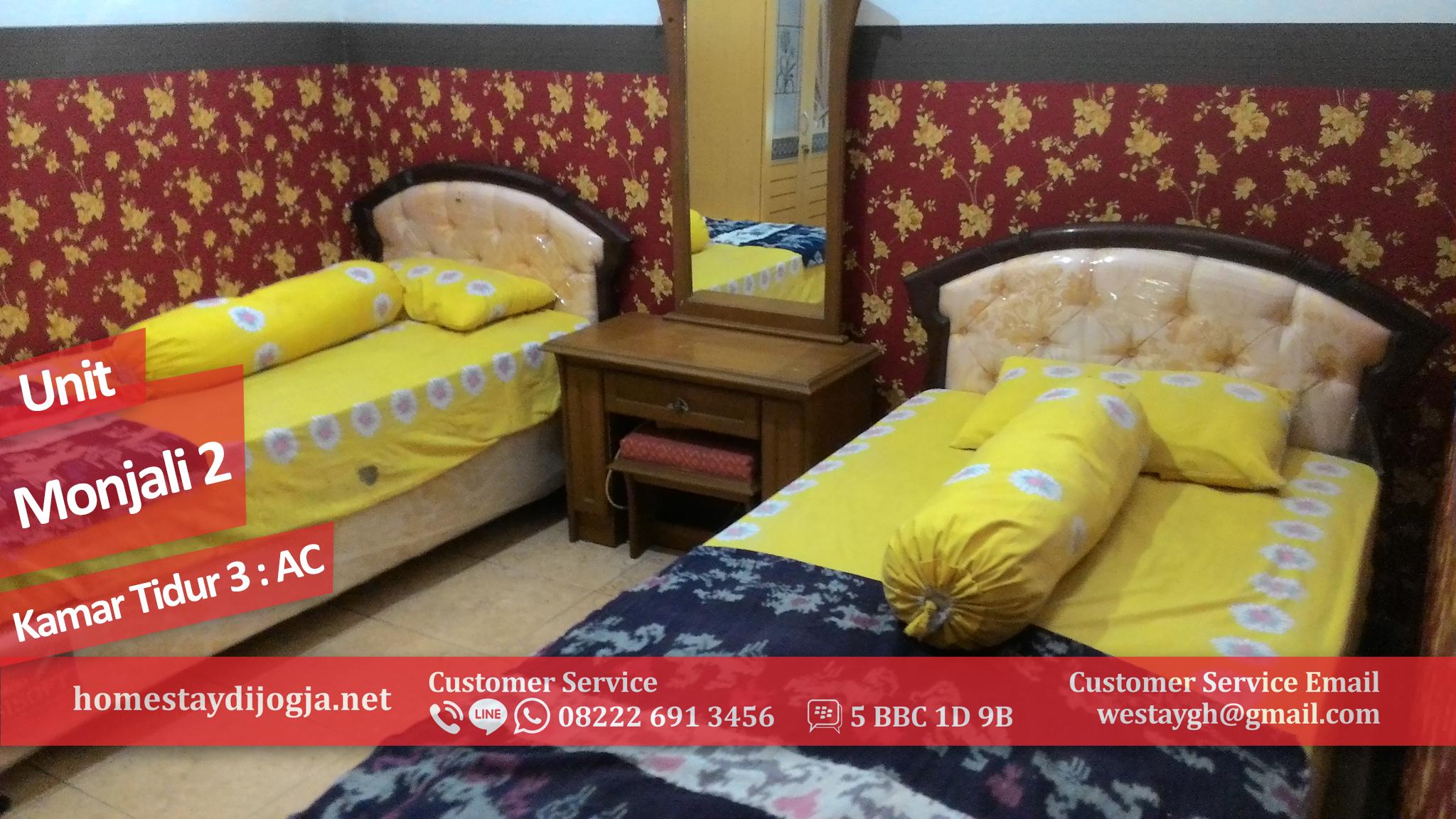 Guest House Murah 3 Kamar AC di Monjali menuju Tugu Jogja hanya 5 menit
