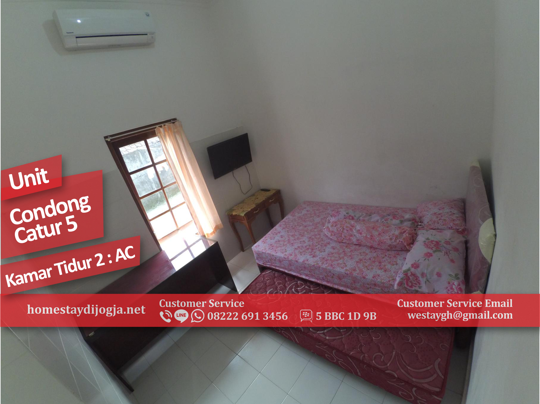 Homestay Murah 2 Kamar AC di Condong Catur kapasitas 8 orang