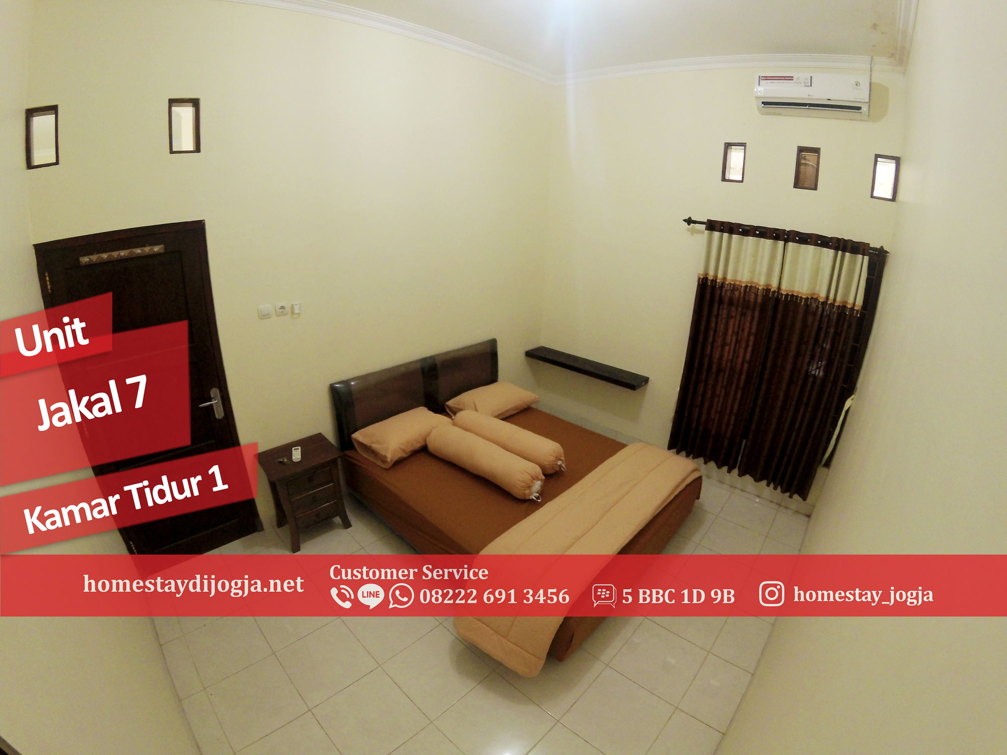 Homestay Jogja Murah 3 Kamar tidur AC di Jalan Kaliurang KM 12 menuju Malioboro 30 menit